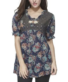 Love this Simply Couture Navy Floral Top by Simply Couture on #zulily! #zulilyfinds