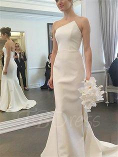 Tbdress.com offers high quality Strapless Mermaid Sweep Train Wedding Dress Latest Wedding Dresses unit price of $ 117.99.