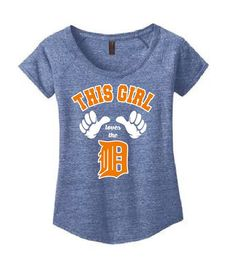 This Girl Loves the D Ladies Scoop Neck T Shirt White and orange screen printed design Womens Shirt Funny Shirt Free Shipping
