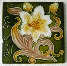 Antique Art Nouveau' Hibiscus' Majolica Ceramic Tile