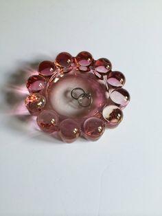 Vintage Pink Bubble Glass Ash Tray Retro Glass
