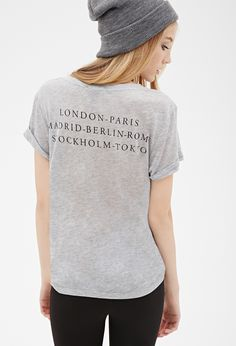 Cities Graphic V-Neck Tee | FOREVER21 - 2000135539