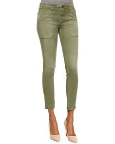 The Conductor Ankle Jeans, Army Green by Current/Elliott at Neiman Marcus.