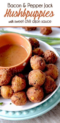 Bacon Pepper Jack Hushpuppies with Sweet Chili Dijon Dip (and 22 Other Game Day Recipes and Ideas)~Posted On: January 15, 2015 ~Prep.Time: 10 min; Cooking Time: 20 min; Total Time: 30 min; Level: Easy; Yield: (50 Hushpuppies)