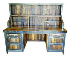 #058ST - Industrial Desk with hutch • reclaimed wood and steel • rustic furniture