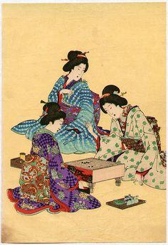 Toyohara Chikanobu Title:Playing Go and Tea Ceremony (detail) Japan Illustration, Japanese Home Decor, Japanese House, Tea Ceremony Japan, Go Game, Embroidery Transfers, Maneki Neko, Geisha, Japanese Painting
