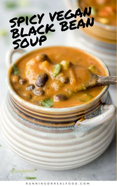 Try this healthy vegan black bean soup for dinner tonight, it only takes 20 minutes to make! Full of flavour, hearty and nutritious. Oil-free, gluten-free.  #veganrecipes #vegansoup #blackbeansoup #blackbeanrecipes #runningonrealfood #blackbeansoup #blackbeans #vegandinnerideas #healthysoup #healthysouprecipe #easysouprecipe #healthyrecipes