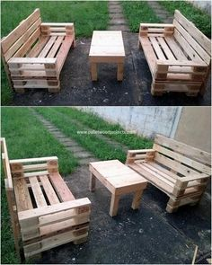 Wooden Pallet Made Patio Cafe Furniture | Pinterest