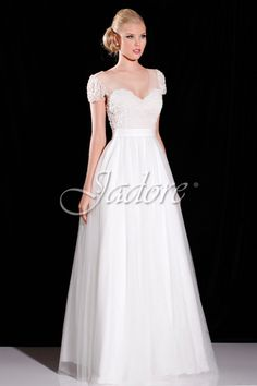 Style #J6041 lovely and delicate.  Amazing pearl detailing on bodice.  Very light and comfortable.  Jadore Evening www.jadoreevening.ca
