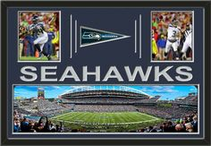 Two framed 8 x 10 inch Seattle Seahawks photos of Russell Wilson with a Seattle Seahawks mini pennant and large stadium panoramic, double matted in team colors to 36 x 24 inches.  The lines and SEAHAWKS* are cut into the top mat and show the bottom mat color.  The stadium view may be cropped to fit.  (Pennant design subject to change)  $189.99 @ ArtandMore.com