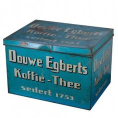 Large bright blue advertising coffee tea Tin by Dutch Douwe Ebgerts, storage never looked so cool