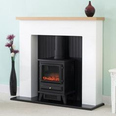 WHITE ELECTRIC FIREPLACE SUITE WITH ELECTRIC WOOD BURNING STOVE BLACK FIRE | eBay