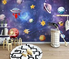 Blue space wallpaper kids bedroom wall mural Peel and Stick solar system planet nursery wall paper removable playroom wall decor poster Kids Bedroom Wallpaper, Wallpaper Decor, Watercolor Galaxy, Galaxy Painting, Playroom Wall Decor, Nursery Decor, Galaxy Theme, Galaxy Art, Old Wall