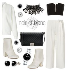 """""""noir et blanc"""" by nnm-s ❤ liked on Polyvore featuring L.K.Bennett, Balmain, New Look, Amrita Singh, Chanel, Belk & Co., Movado, white, black and rockthevote"""