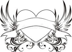 Illustration about Heart shape with design elements, individual objects very easy to edit. Illustration of tattoo, drawing, wings - 7823403 Art Drawings Sketches Simple, Love Drawings, Tattoo Drawings, Drawing Ideas, Design Tattoo, Heart Tattoo Designs, Love Tattoos, Body Art Tattoos, Tattoos Skull