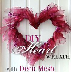 Making Valentine Heart Wreath Deco Mesh Idea