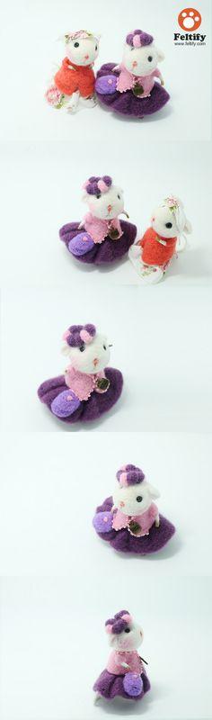 Needle Felted Felting wool Animals Cute Mouse Grandma