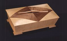 Wooden Box. Maple with walnut reverse diamond with bent rosewood handle.