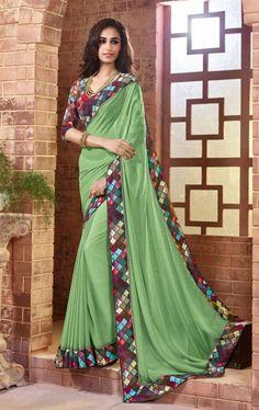 Flamboyant Aloe Vera Green Latest Saree with Fashionable Blouse