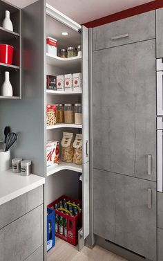 """Képtalálat a következőre: """"u shaped kitchen with corner pantry"""" Corner Kitchen Pantry, Simple Kitchen Cabinets, Kitchen Pantry Design, Home Decor Kitchen, Interior Design Kitchen, Kitchen Storage, Home Kitchens, Corner Cupboard, U Shape Kitchen"""