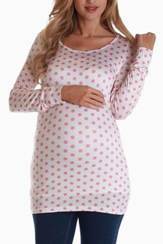 086e3b6d1f9106 White Coral Polka Dot Long Sleeve Maternity Shirt