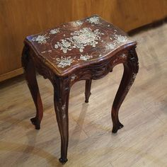 Antique Rosewood stool with contrasting floral pattern engraved onto it. Available exclusively at Red Sega Seeds Singapore. Visit Us Today! Best Places In Singapore, Vanity Bench, Unique Vintage, Vintage Furniture, The Good Place, Stool, Seeds, Buy And Sell, Antiques