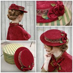 Red Velvet Holiday Hat by GreenTrunkDesigns on Etsy