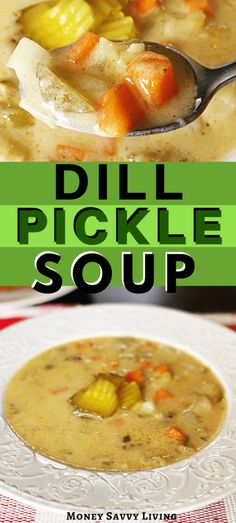 Dill Pickle Soup - Money Savvy Living - - This warm and creamy dill pickle soup is ready quick and easy to make-- dinner is done in about 30 minutes! Dill Pickle Soup, Dill Pickle Chips, Easy Soup Recipes, Pasta Salad Recipes, Party Recipes, Dinner Recipes, Unique Pasta Salad, Creamy Potato Soup, Quick And Easy Soup