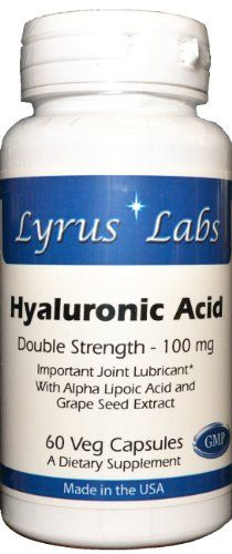 Lyrus Labs - Hyaluronic Acid Double Strength 100 mg - 60 Veg Capsules - Made in the U.S.A. Hyaluronic Acid is a compound present in every tissue of the body, with the highest concentrations occurring in connective tissues such as skin and cartilage. Alpha Lipoic Acid. Made in the USA in a GMP-certified facility. Each vegetarian capsule contains: Hyaluronic Acid (from Sodium Hyaluronate) -100 mg. Grape Seed Extract (Standardized to a minimum of 90% Total Polyphenols). Alpha Lipoic Acid, Grape Seed Extract, Body Tissues, Gout, Hyaluronic Acid, Arthritis, Labs, Strength, Vegetarian