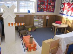 Dramatic play Train Station, cardboard train, train schedule and clock and area to buy tickets