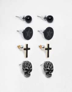 ASOS+Stud+Pack+With+Skull+And+Cross