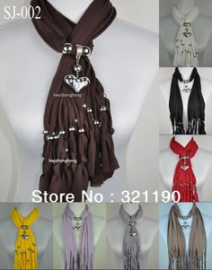 Free shipping 1pcs 2013 Hot pendants scarf jewelry New style beads&tassel Charms scarves polyester fashion Design 8 color SJ 002-in Scarves ...