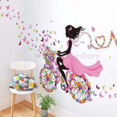 Flower Girl Removable Wall Art Sticker Vinyl Decal Kids Room Home Mural Decor