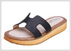 Minetom Damen Sommer Beiläufig Slippers Flache Ferse Plateauschuhe Mode Sandalen Strand Hausschuhe Schwarz EU 40 - Sandalen für frauen (*Partner-Link)