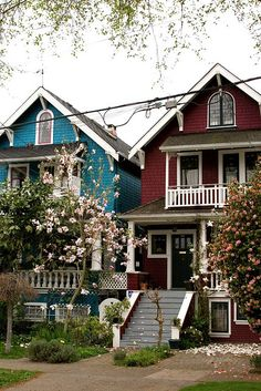 Kitsilano, Vancouver . I love these houses! They are on my old street. I always admired them.