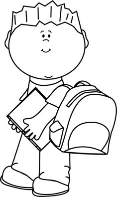 Black and White Boy Carrying Book to School Clip Art - Black and White Boy…