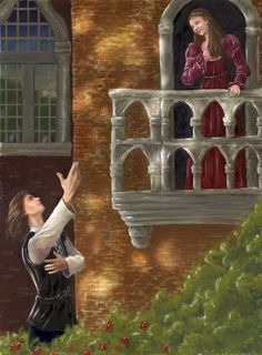Great illustration of a famous scene in the play Romeo and Juliet by William Shakespeare. #Balcony #Romeo&Juliet #Shakespeare