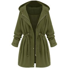 Choies Green High Waist Hooded Long Sleeve Coat (€46) ❤ liked on Polyvore featuring outerwear, coats, jackets, tops, coats & jackets, green, long sleeve coat, hooded coat, green hooded coat and green coats