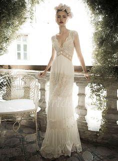 Brautkleider - $295.17 - A-Linie/Princess-Linie V-Ausschnitt Sweep/Pinsel zug Chiffon Spitze Brautkleid mit Perlen verziert (0025055891)