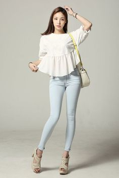 Short Sleeve Lace Shirring Blouse