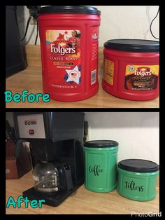 Reuse Plastic Containers, Recycling Containers, Folgers Coffee Container, Coffee Can Crafts, Coffee Can Diy Projects, Diy Crafts To Sell, Home Crafts, Diy Kitchen Projects, House Projects