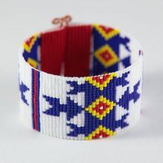 Blue Arrows Bead Loom Friendship Bracelet Bohemian by PuebloAndCo