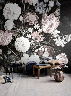 Vintage Floral Art Removable Wallpaper | Wall mural | Peel& Stick