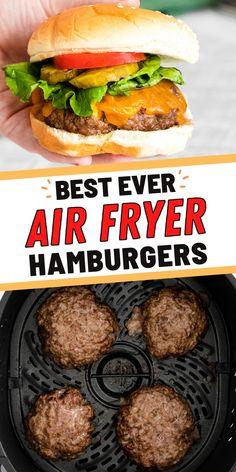 Air Fryer Recipes Beef, Air Fryer Recipes Potatoes, Air Fry Recipes, Air Fryer Dinner Recipes, Entree Recipes, Beef Recipes, How To Cook Hamburgers, Homemade Hamburgers, Well Done Burger