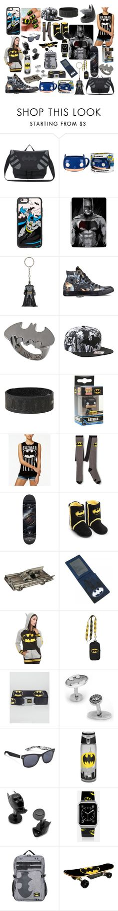 """""""batman"""" by sabortoothtiger1 ❤ liked on Polyvore featuring DC Comics, Funko, Casetify, Hot Topic, Converse, nOir, Bioworld, Ultimate, Buckle-Down and Cufflinks, Inc."""