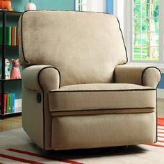 Chloe Sand Fabric Nursery Swivel Glider Recliner Chair | Overstock.com Shopping - The Best Deals on Recliners