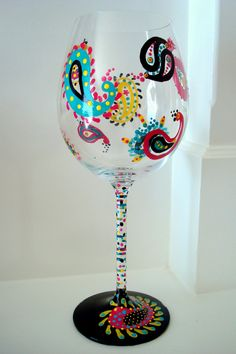 paisley print <3  Hand painted wine glasses by Sips - Austin, TX