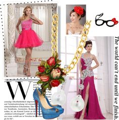 """""""One Shoulder Appliques Chiffon Watteau Fuchsia Column Prom Dress"""" by pageantdress on Polyvore"""