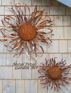 Shredded Wall Flower  Metal Petals Garden Art    Art, flower, garden art, home and garden, gardening, home decor, recycled, steel, metal flower, primitive, rustic, wall art,