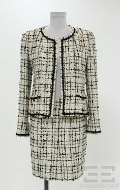 Chanel Cream & Black Sequin Boucle Knit Jacket & Skirt Suit